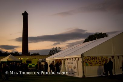 The Chameleon Stage with the iconic tower in Ramsbottom
